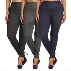 3 Pack Plus Size 1X/2X Terry-Lined Leggings